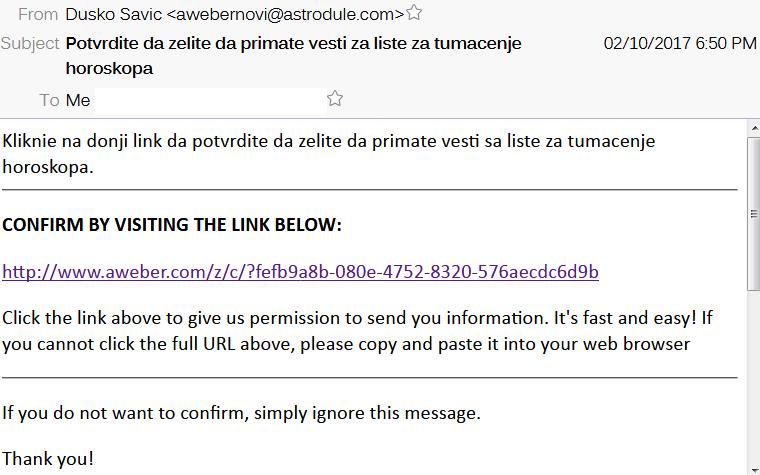 Poruka u elektronskoj posti -- kliknite na link